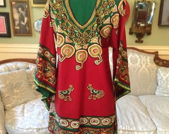 1970s Vintage India Print Tunic Top Long Wide Sleeves Hippie Boho