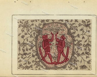 Antique Original woodblock  Meiji period Japanese Pattern - Printed on a nice paper - Mythical Creatures
