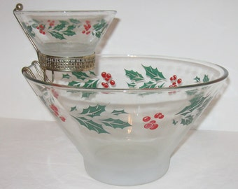 Vintage Holly Pattern Chip and Dip Set with Gold Tone Bracket