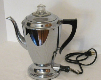 Retro Royal Rochester Stainless Steel Electric Percolator, tested & working