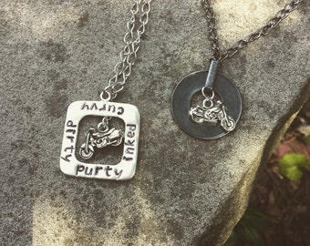 Hand-Stamped Motorcycle Biker Charm Necklace
