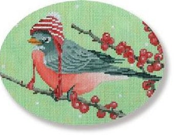 Needlepoint Handpainted SCOTT CHURCH Robin with Hat 6.25 x 5 -Free US Shipping!!!