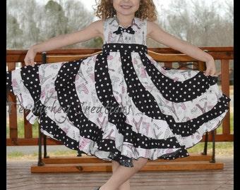 Boutique Swirl Dress; Peppermint Swirl Dress; Sizes Girls 6-10; made with Paris fabrics
