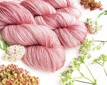 welthase glamour NUDE ROSE beautiful rosy flower colour pink semi solid hand dyed Silk Bluefaced Leicester 2ply lace yarn 100g-600m-656yd