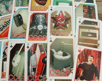 Soviet playing cards / vintage retro soviet nostalgia playing cards / pictures of USSR propaganda, symbols, different parts of soviet life
