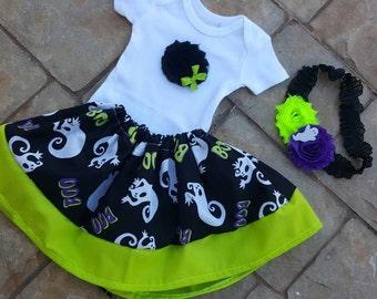 BOO . 3 PIECES.  Baby Girl Skirt.  Halloween Skirt.  Skirt and Headband.  Halloween Outfit.  Halloween Headband.