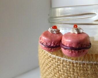 Pink Macaroon Stud Earrings
