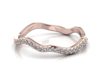 Delicate Irregular Curved 14K Rose Gold Pave Band with White Diamonds Wedding Band Wedding Set