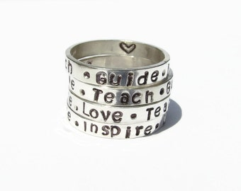 Teacher Gift,Teacher appreciation,Message Ring,Hand stamped,Personalized teacher gift,Personalized Ring,teacher quote,teacher ring,teacher