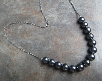 Slate gray glass pearl necklace