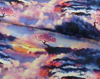Sunset on cotton lycra jersey knit fabric - UK seller