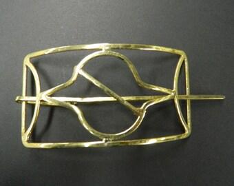 Vintage handmade brass ponytail updo hair clip
