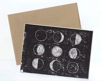 Moon Phases Linocut Printed Card