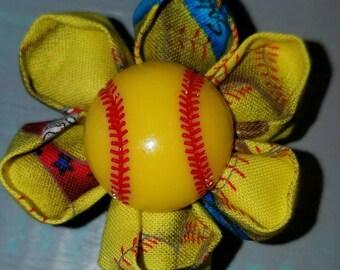 Softball kanzashi flower retractable badge holder reel