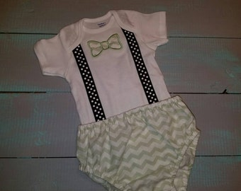 Boy picture outfit. Bodysuit  with bowtie and matching diaper cover