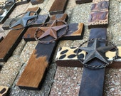 Lone Star Handcrafted Western Cross, Each design is unique and One Of A Kind!!!!! Metal Leather Fur Texas Southern Cross Art