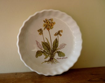 Vintage Botanical Print primula officunalis yellow cowslip quiche dish - portmeirion style