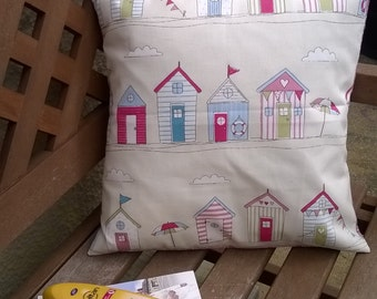 Beach Hut Cushion Cover, Beach Hut Pillow Cover, Seaside Beach Hut Cushion Cover, British Summer Cushion Cover, English Seaside Cushion