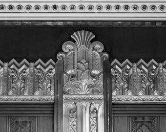 Vintage Theater Architecture // Black and White Fine Art Photography // The Wiltern, Los Angeles // Square Photo Print