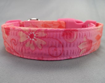 Peach and Pink Flower Girl Dog Collar