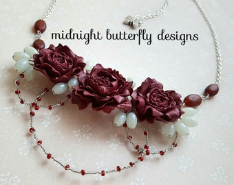Red Flower Statement Necklace, Crimson Flower Necklace, Peony Occasion Necklace