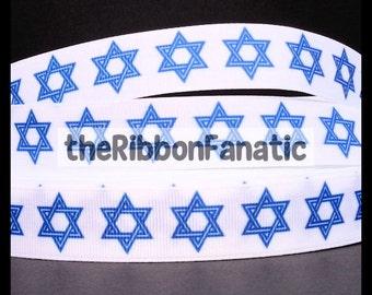 "5 yds 7/8"" Hanukkah Blue White Star of David Jewish Holiday Grosgrain Ribbon"