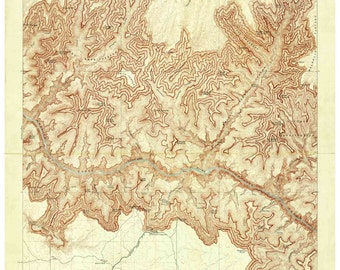 Grand Canyon 1906 Bright Angel USGS Quad Old Topo Map Reprint - A Careful Reproduction  Arizona