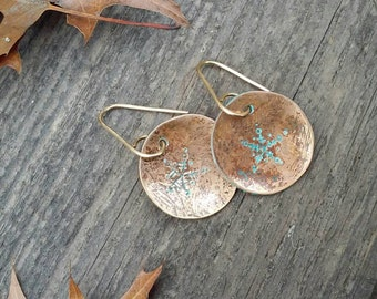 Small snow flake copper dangle earrings, one of a kind