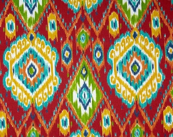 Indoor / Outdoor Weather Resistant Fabric By The Yard - Richloom Losani Pompeii Red - Red, Blue, Yellow, Green, Orange - Colorful Ikat