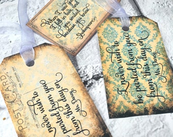 Wedding wish tree tags / labels  Love and Quotes #2 - Retro Vintage  | Wishing Tree | Love | Chic | Paris