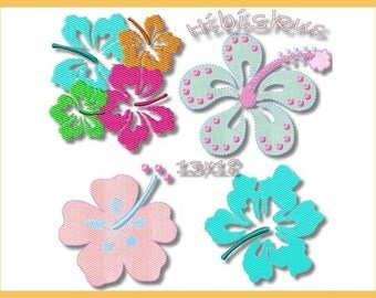 Embroidery file 13 x 18 Hibiscus flowers flowers