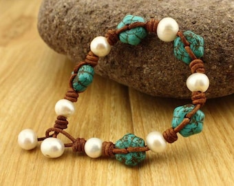 Pearl & turquoise leather bracelet
