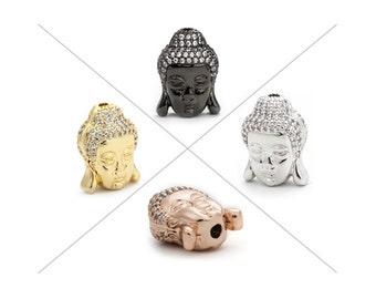 Buddha Beads, CZ Pave Beads, 15.5x12x8mm, Cubic Zirconia Pave Bead, 1 Piece, CB135