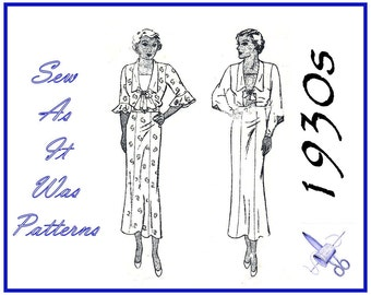 1930s Butterick 5242 Slim Six Gored Flared Chelsea Collar Dresses Jabot Bow Flounce Button Sleeves Vintage Sewing Pattern Plus Size Bust 48""