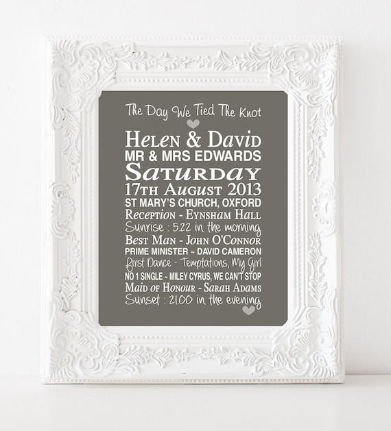 Personalised wedding gift - tied the knot print - 1st anniversary gift ...