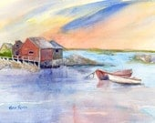 Maine Coast with Boats Giclee Print of Original Watercolor