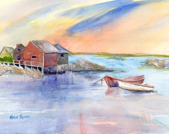 Maine Coast with Boats Giclee Print of Original Watercolor, New England Original Artwork, Art Lover Gift