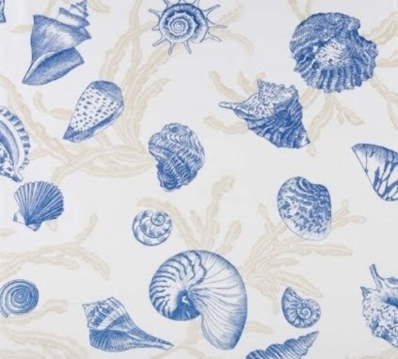 Blue Seashell Fabric Coastal Fabric Beach Fabric Seashell