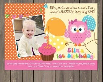 Owl 1st Birthday invitation, Girls Owl First Birthday Party Invitation, Cupcake and Balloons Birthday Invitation, Printable or Printed