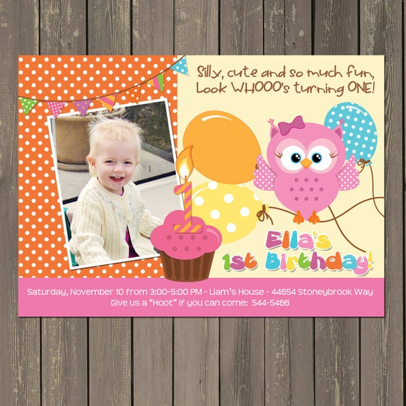 owl st birthday invitation, girls owl first birthday party, Birthday invitations