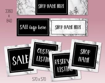 NEW Marble Shop Banner Set | Custom Branding Kit | Branding Package | Set of 6 Graphics | Business Branding | Shop Banner | Header Design