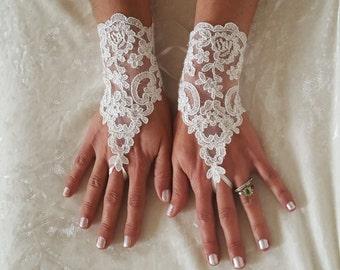 crystalline shining ivory lace gloves bridal