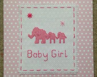 Baby Girl Cross Stitch Card