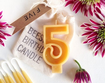 Beeswax Birthday Candles with a Single Digit