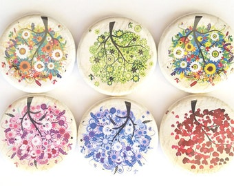 Tree Magnets, Flowering Trees Magnets, Refrigerator Magnets, Fridge Magnets, Flower Trees Magnets, Decorative Flower Tree Magnets, Set of 6