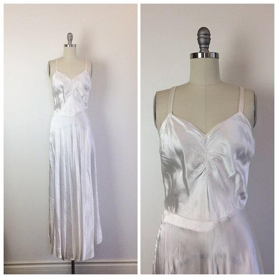 40s White Satin Maxi Dress Slip 1960s Vintage Bias Cut