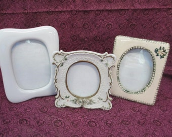 K Vintage 3 photo ceramic frames free standing with glass fronts used