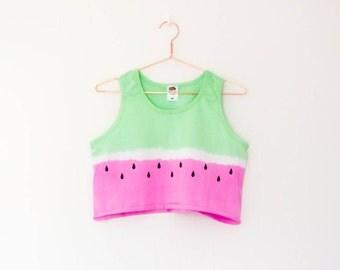 Tie Dye Watermelon Sleeveless Crop Top S/M/L/XL