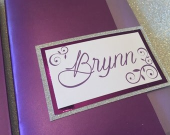 Purple and Silver Glitter Bat Mitzvah Invitation