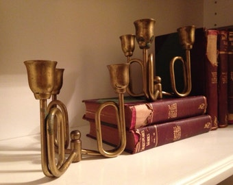 Set of Two Vintage Brass Candlestick Holders